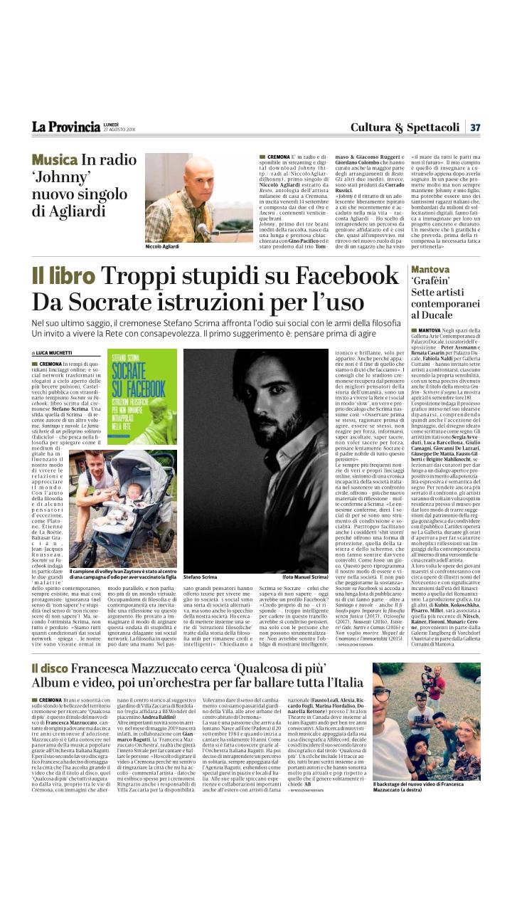 Socrate su Facebook su La Provincia di Cremona